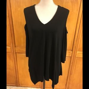 Adrianna Papell Black V-neck, Cold-Shoulder Tunic
